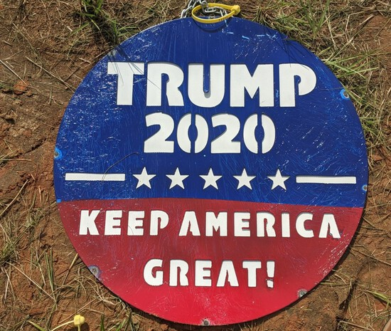 Round Metal Trump Sign