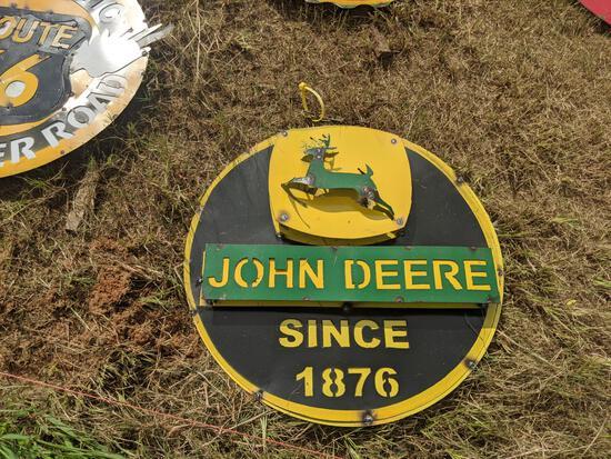 Metal Round John Deere Sign