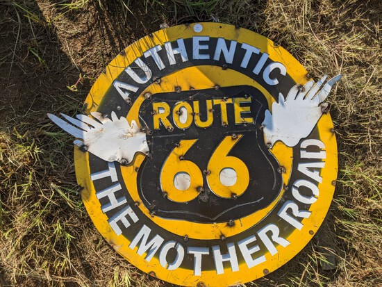 Round Metal Route 66 Sign