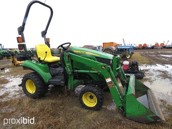 John Deere 1023E MFWD Tractor, s/n 1LV1023EAHJ109067: Loader w/ Bkt., 1230
