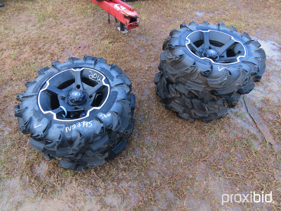 Set of (4) Tires for Polaris Side By Side: (2) 27x11.00-14 and (2) 27x9.00-