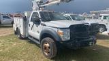 2014 Ford F550 Bucket Truck, s/n 1FDUF5HT7EEB52181 (Salvage): Wrecked