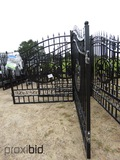 Unused 2021 Greatbear 14' Bi-parting Wrought Iron Gate: Deer Artwork
