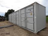 Unused 2021 40' High Cube Container: 4 Side Doors, 1 End Door, Lock Box, Si