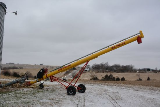Westfield WR100-31 Auger, 10HP Electric Drive, Wheeled Dolly Jack, EXCELNT