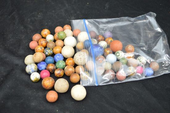 Group of Vintage Clay Marbles