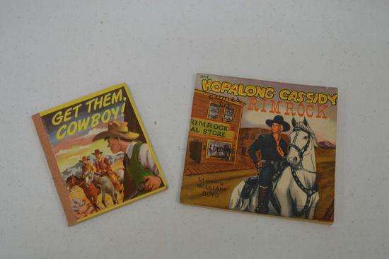 2 Children's Books - Get them Cowboy & Hopalong Cassidy - 1950's
