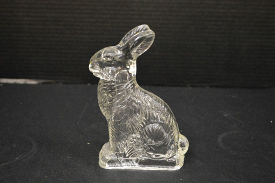 Glass Candy Container of Sitting Rabbit