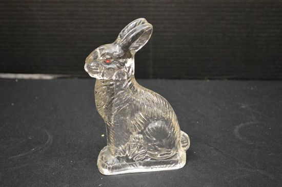 Glass Candy Container of Sitting Rabbit w/ 1 Red Eye