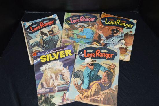 Group of 5 Lone Ranger 10 cent Comic Books