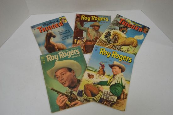 Group of 5 Roy Rogers & Trigger 10 cent Comic Books