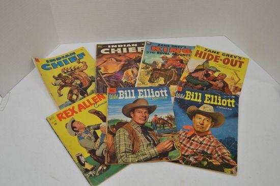 Group of 7 Western Comics: Zane Grey, Bill Elliot & Rex Allen