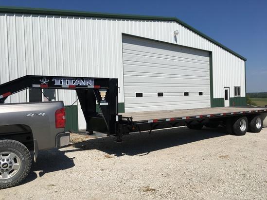 2012 Titan 30ft, Gooseneck, Flatbed Trailer, Double Axle Dual Wheeled, Dove Tail, 10,000 lb Axles