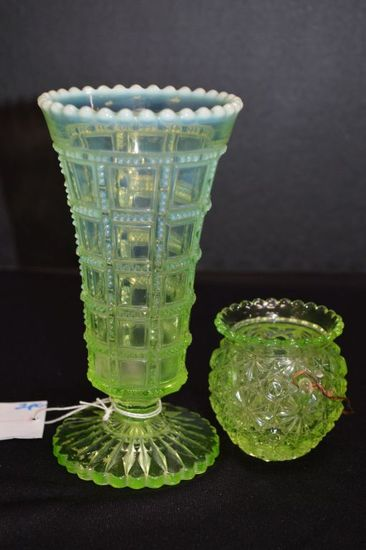 Pair Opalescent Vaseline Pressed Glass Vase and Green Toothpick