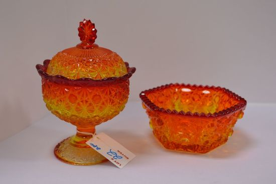 Pair Amberina Button and Daisy Dishes - 1 w/ Lid
