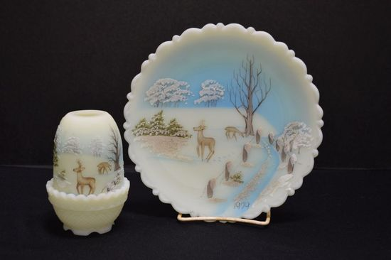 Fenton Custard Plate and Fairy Lamp - Hand painted and Signed, Deer Scene