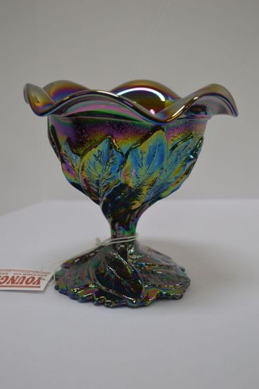 "Carnival Glass Candy Dish Leaf Pattern by Imperial Glass: 5"" x 5"""