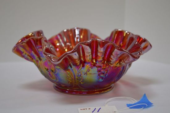 Red Carnival Glass Ruffled Edge - Grape Pattern by Mosser Glass