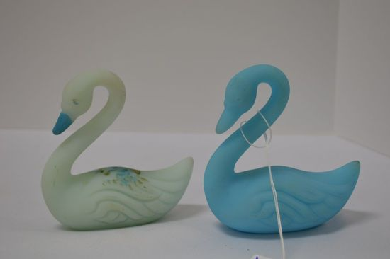 Pair Blue Custard Swans: 1  Hand painted and Signed