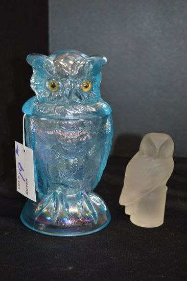 Blue Carnival Owl w/ Glass Eyes and Frosted Owl Paperweight