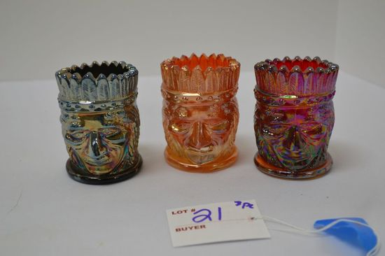 Set of 3 Carnival Toothpick Holders: Indian Pattern - Marked St. Clair, Joe