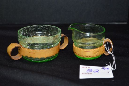 Pair Sugar and Creamer Green Crackle w/ Leather Handles