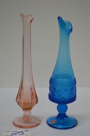 Pair Small Vases: 1 Blue Pressed Glass Made in Italy, 1 Pink Pressed Glass