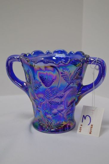 "Carnival Glass Double Handled - Strawberry Pattern: 5"" x 7"""