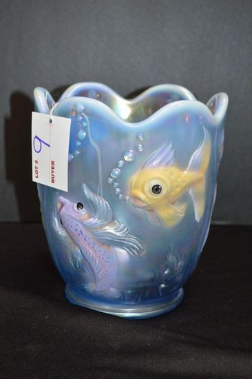 "Carnival Hand painted and Signed Fish Vase by Fenton: 6 1/2"" Tall, 6"" Wide"