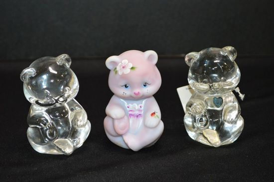 3 Glass Bear Paperweights: 2 Clear, 1 w/ Blue Crystal, 1 Pink Hand painted