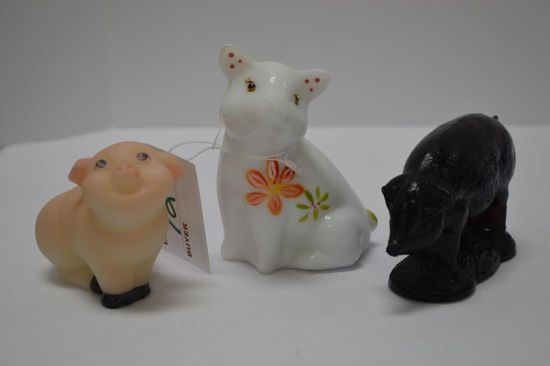 3 Pigs: 1 Purple Pressed Glass Sow, 1 Milk Glass Hand painted and Signed Fe