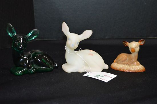 3 Deer Figurines: 1 Small Brown Slag, 1 White Custard Hand painted and Sign