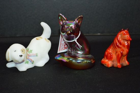 1 Carnival Glass Fox by Fenton, 1 White Custard Dog Hand painted and Signed