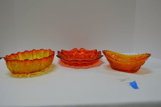 """Group of Amberina: 1 Ash Tray/ Dish Star Pattern 8"""", 1 Oval Pressed Glass D"""