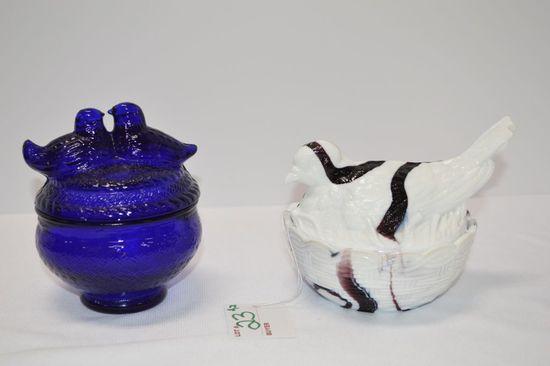 "White Slag Pigeon on Nest Marked w/ ""H"", Cobalt Love Birds Lidded Dish"