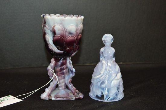 """Purple Slag Lady Figure Marked """"V"""" S.B., Purple Slag Vase Drape and Beaded"""