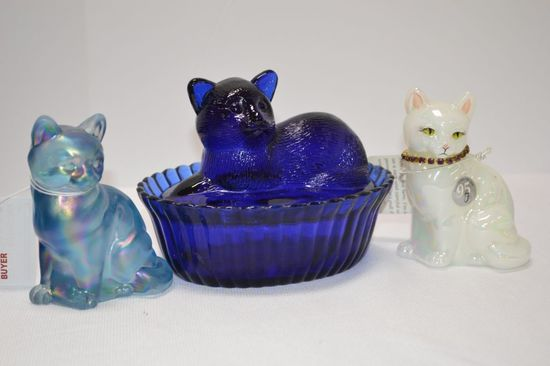 Group of Cat Figurines: 1 Cobalt Covered Cat in Basket, 1 Blue Carnival by