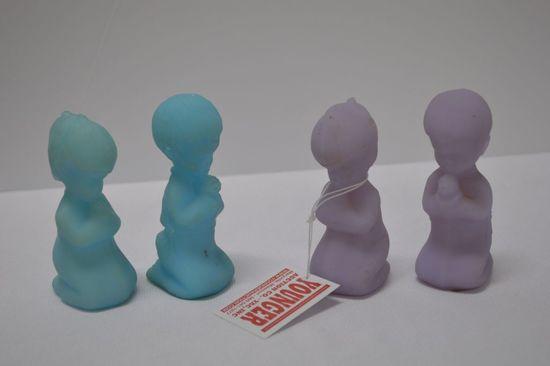 2 Pair Blue and Lavender Custard Praying Boy and Girl