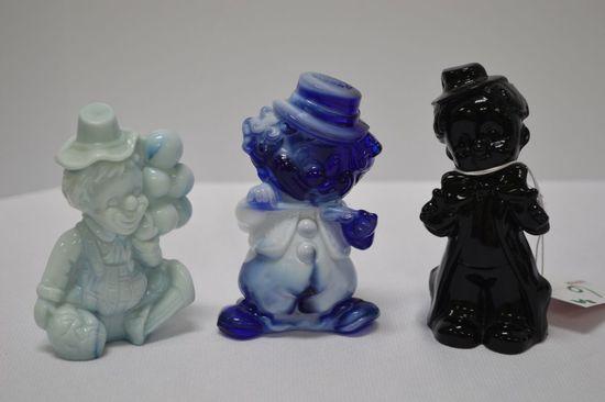 "3 Glass Clowns: Black, 2 Blue Slag ""Hobby and Hoagy"""