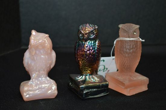 """3 Owl Paperweights, 3 1/2"""" ; Pink Luster is Boyd"""