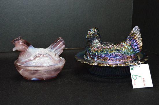 """Hen on Nest, Purple Carnival by """"Mosser Glass"""" Purple Slag"""