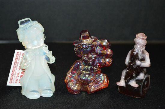 "3 Clown Figurines: 1 Red Carnival ""Daisy"" M-81, 1 Purple Slag ""Rufus"" M 198"