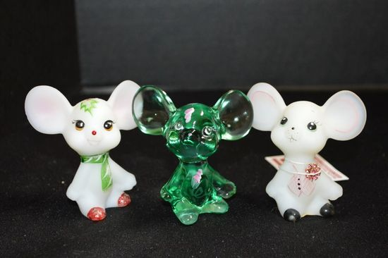 3 Fenton/Lenox Hand painted and Signed Mice Figurines