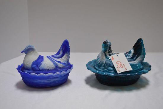 2 Slag Hen on Nest: 1 Blue and 1 Teal