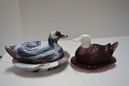 1 Slag Duck on Nest w/ Glass Eyes by Westmoreland, 1 Purple Slag Duck w/ Wh