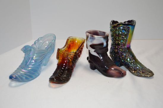 4 Boots and Slipper Ash Tray/ Toothpick Holders - 2 Fenton
