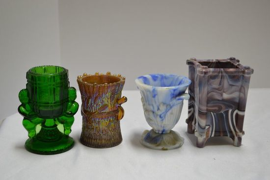 4 Assorted Styles of Toothpick Holders, and Slag Vase