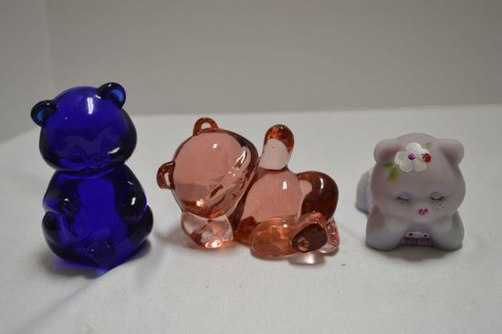 3 Bear Figurines All Fenton: 1 Signed and Hand painted