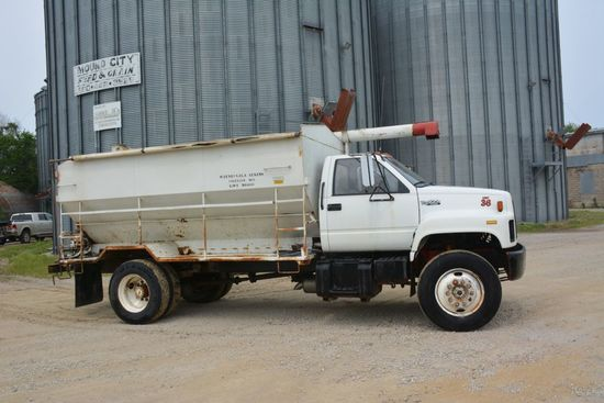 1990 GMC TopKick Cat Diesel Feed Truck (Sudenga Box), w