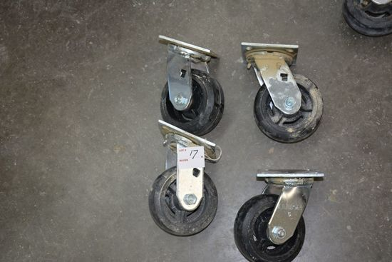 New  - Set of 4 - Swival Albino Rubber Wheel Cart Wheels